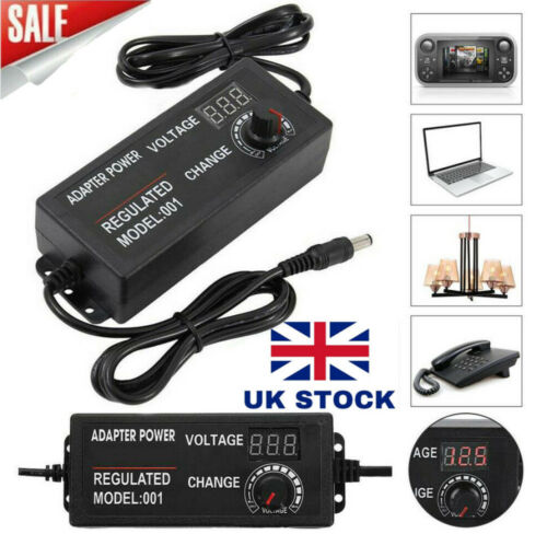 60W 72W 3V-24V Adjustable AC//DC Power Supply Adapter Charger Variable Voltage UK