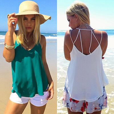 New Women Loose Casual Chiffon Summer Sleeveless Summer Shirt Tank Tops Blouse