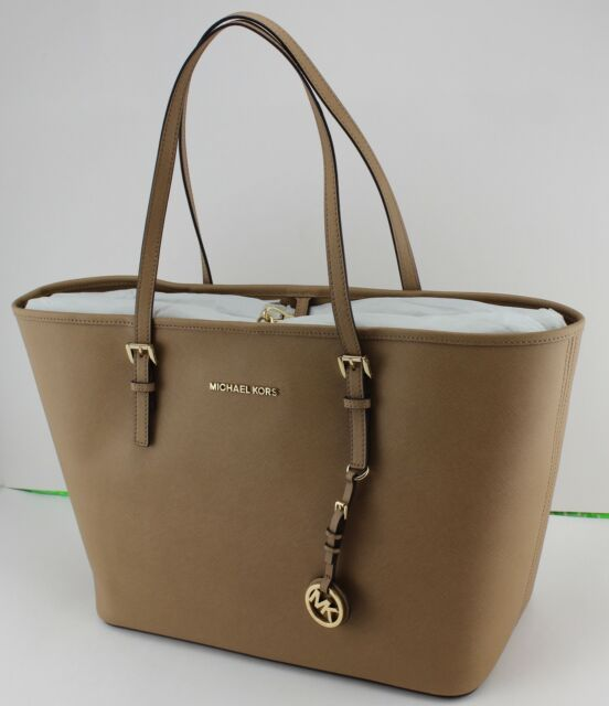 3e58aa985415 Michael Kors Jet Set MD Travel 38h7gtvt6l Dark Khaki Leather Tote Bag