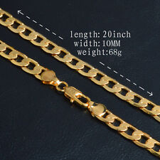 Men's 10MM 18K Yellow Gold Plated Cuban Curb Link Chain Necklace Jewelry 20INCH