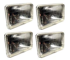 FOUR-4x6-034-H4-Glass-Headlights-Conversion-Halogen-Semi-Sealed-Kit-HID-amp-LED