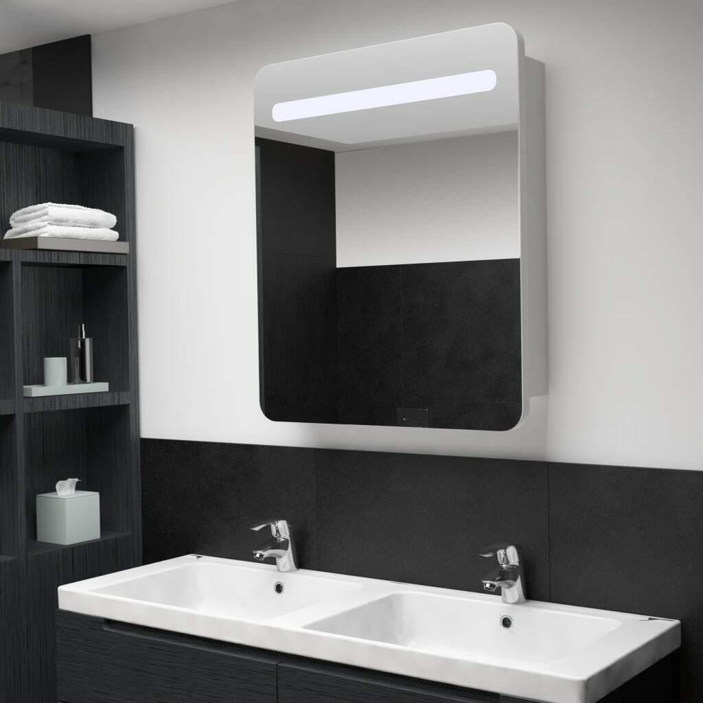 vidaXL Armario de Cuarto de Baño con Espejo y LED 68x9x80cm Mobiliario Hogar