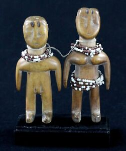 Arte Africano Africano Arte - Coppia IN Miniatura Gemelli Ewe Su Base - 13,3 CMS