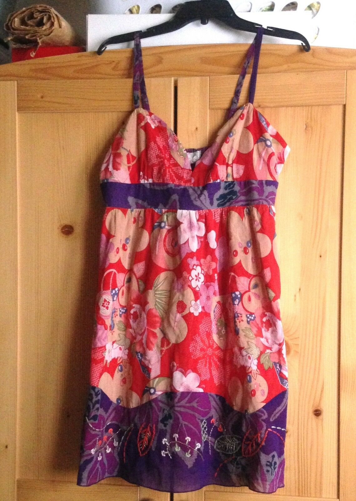 Ecote Urban Outfitters Embroidered  Strappy Floral Dress Sz L-NWT  RT  78