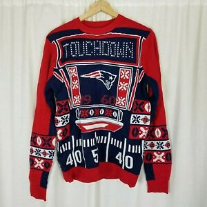 Details about New England Patriots NFL Touchdown Light Up Ugly Christmas Knit Sweater Mens S