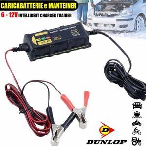Caricabatterie-Mantenitore-Batteria-Auto-Moto-Portatile-Cavetti-6V-12V-Dunlop