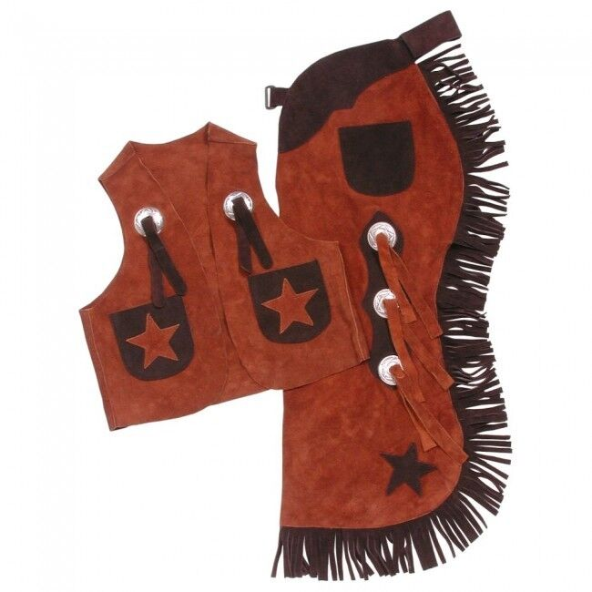 Tough-1 Youth Vest & Chap Set w  Stars - Rust - Medium - 63-360-21-102 -