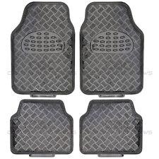 Black Carbon Metallic Rubber Floor Mats Set 4pc Car Interior Auto Accessories