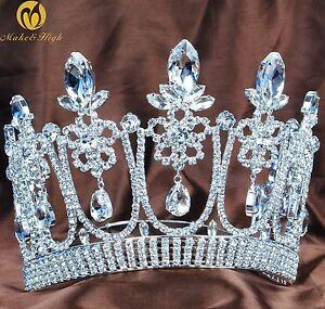 Princess-Large-Tiara-Floral-Contoured-Crown-Clear-Crystal-Wedding-Bridal-Pageant