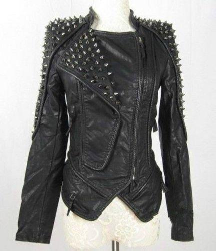 New Womens Punk Spike Studded Shoulder Leather Jacket Coat Motorcycle Jacket