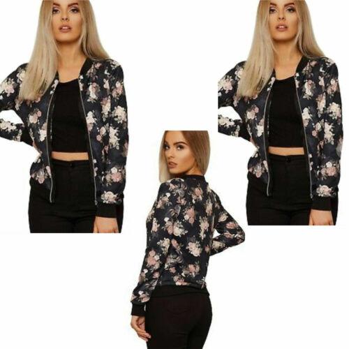 Womens Ladies Rose Floral Print Bomber Biker Jacket Zipper Top Coat Outwear UK