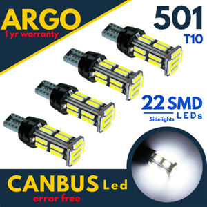 501-DEL-W5W-Eclairage-Lateral-T10-22-SMD-Xenon-blanc-voiture-Wedge-Side-Light-Bulbs-Canbus