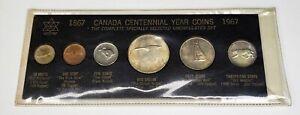 1967 Canada Retro Vintage Holder 6 Coin Set Includes Silver Black