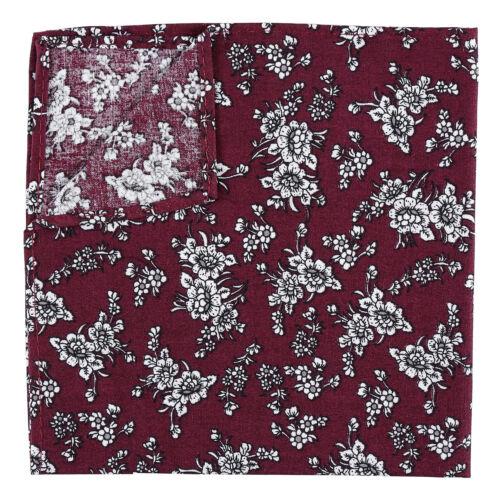 JA Floral Daphne Cotton Mens Casual Hanky Handkerchief Pocket Square