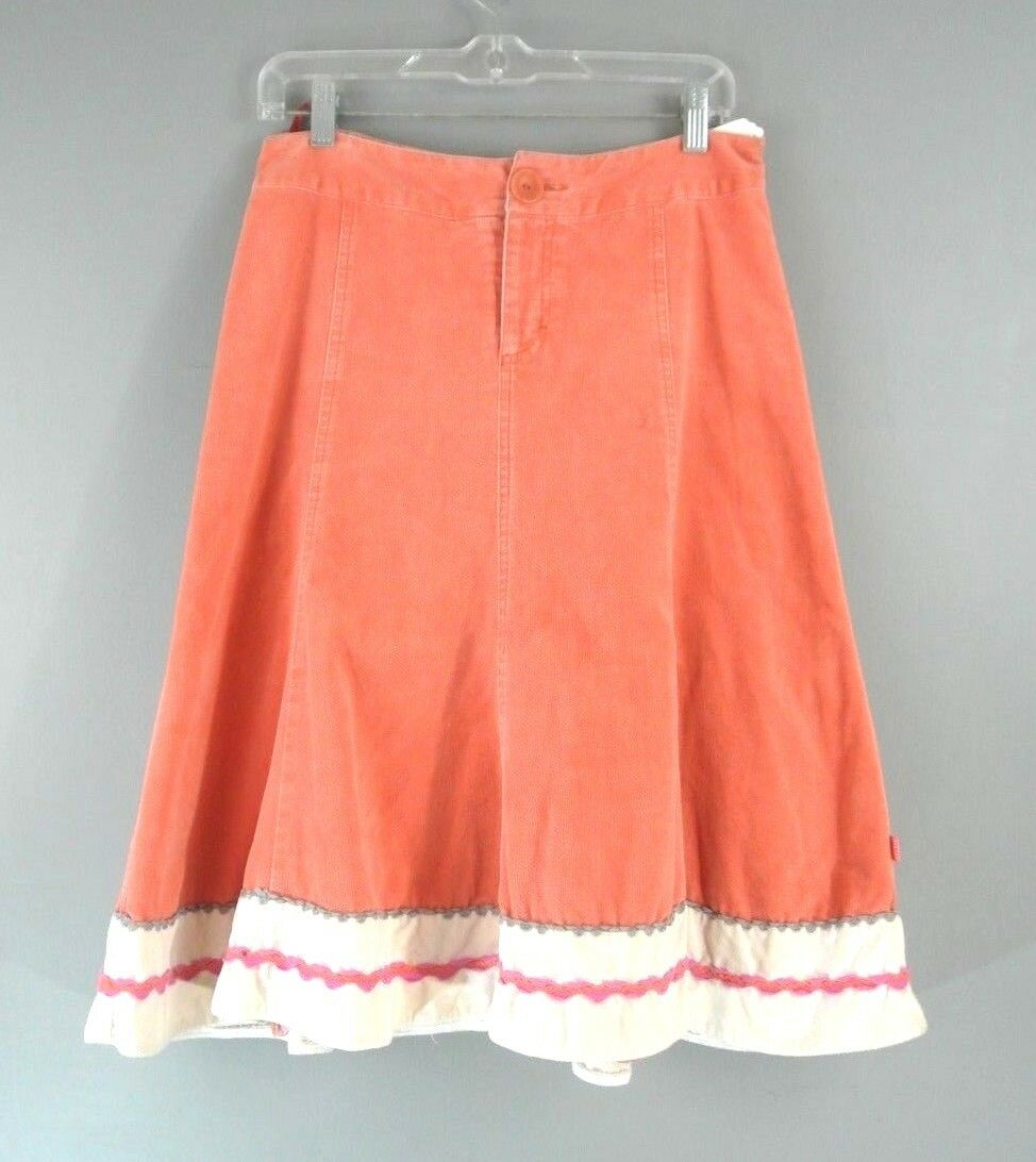 Oilily Velour A-Line Skirt 34 S Coral Summer Casual Cotton Knee length BOHO