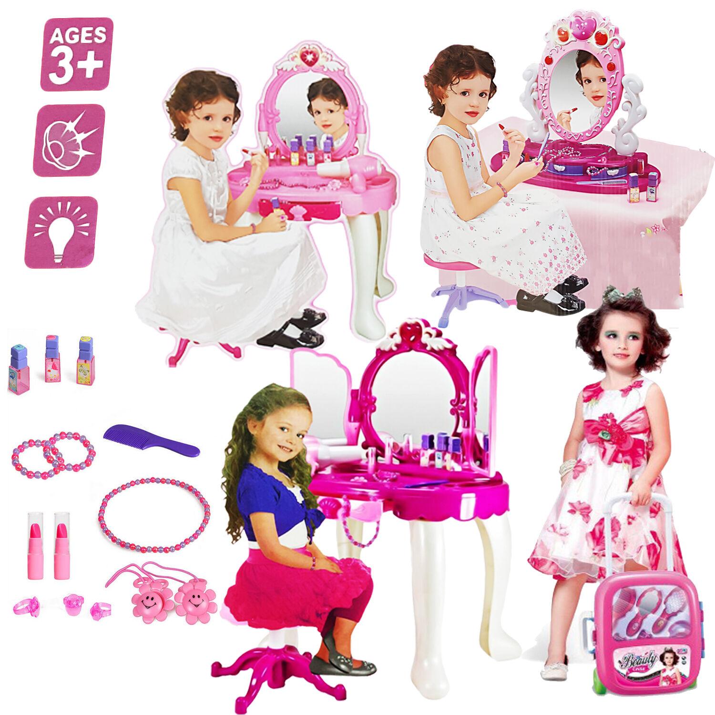GIRLS GLAMOUR MIRROR DRESSING TABLE MIRROR PLAY SET KIDS MAKEUP GAME TOY PRESENT