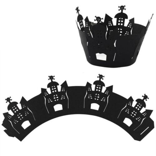 12Pcs Black Halloween Cake Cupcake Wrappers Spiderweb Switch Party Decoration HS