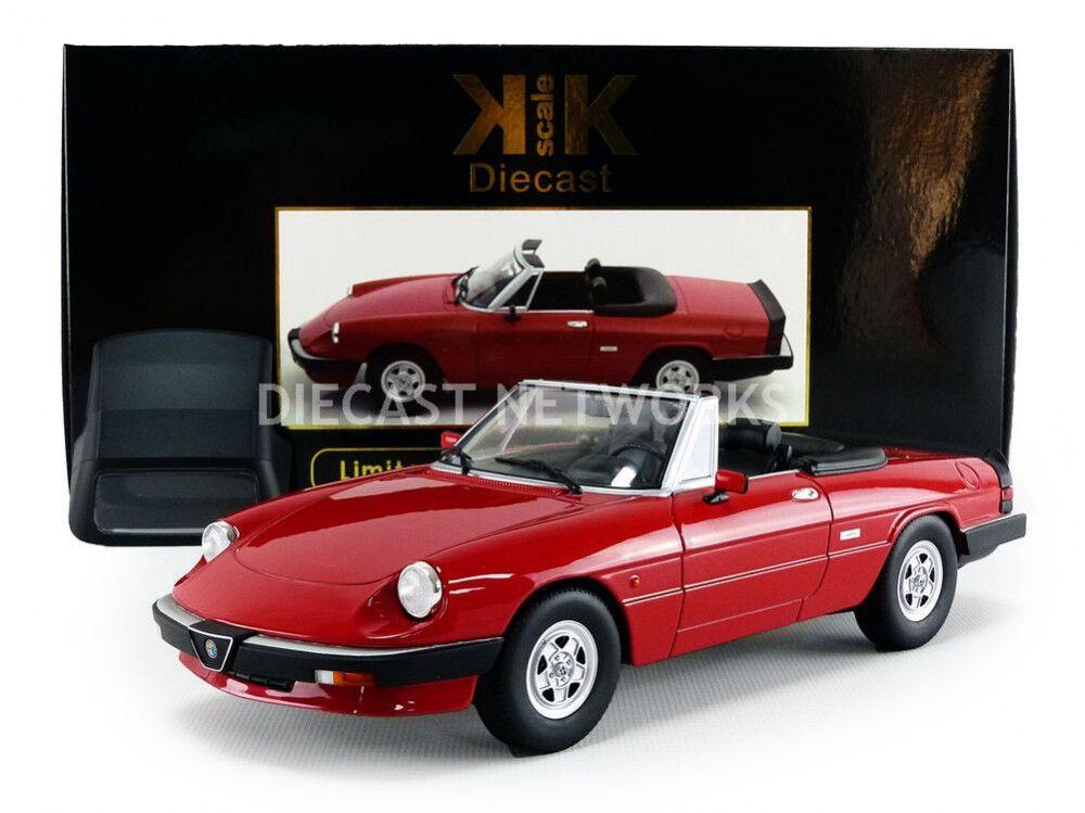 KK SCALE MODELS 1986 Alfa Romeo Spider 3 serie 2 con extraíble Softtop rosso 1 18