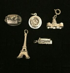 Sterling-Silver-Charms-Landmarks-Lot-Of-5-Eiffel-Tower-Rose-Down-Palace-Stadium