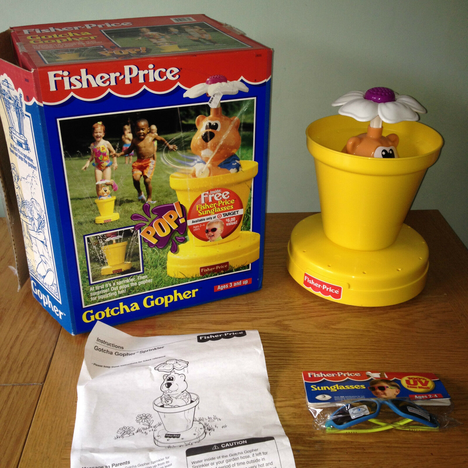 Fisher Price GOTCHA GOPHER Water Sprinkler RARE with GLASSES Outdoor Summer FUN