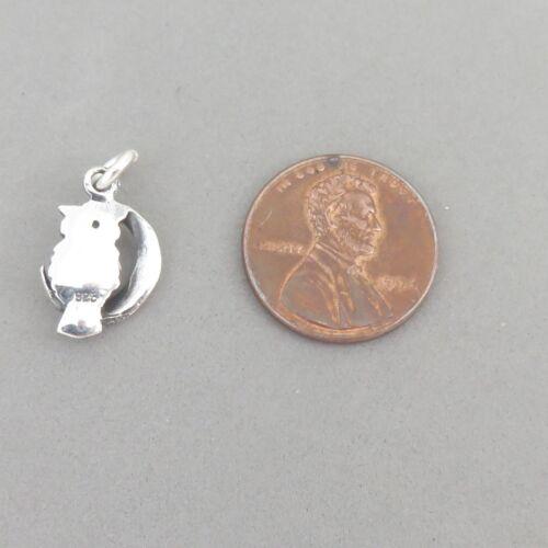 .925 Sterling Silver 3-D OWL SITTING ON THE MOON CHARM Pendant NEW Bird 925 BI74