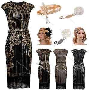 Image is loading 1920s-Flapper-Dress-Gatsby-Fringed-Fancy-Sequin-Roaring- 6af2c923f2ad