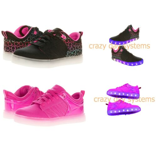 NEW FlashLights RC Light-Up Black or Pink Skate Sneakers Youths Sizes 6Y 7Y NWT