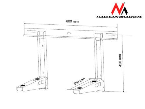 Support Climatisation charge maximale 200 kg acier galvanisé Maclean MC-623