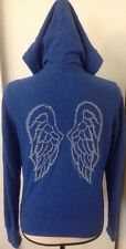 Victoria's Secret Supermodel Essentials Blue Hoodie Sz XS Angel Wings Bling Zip