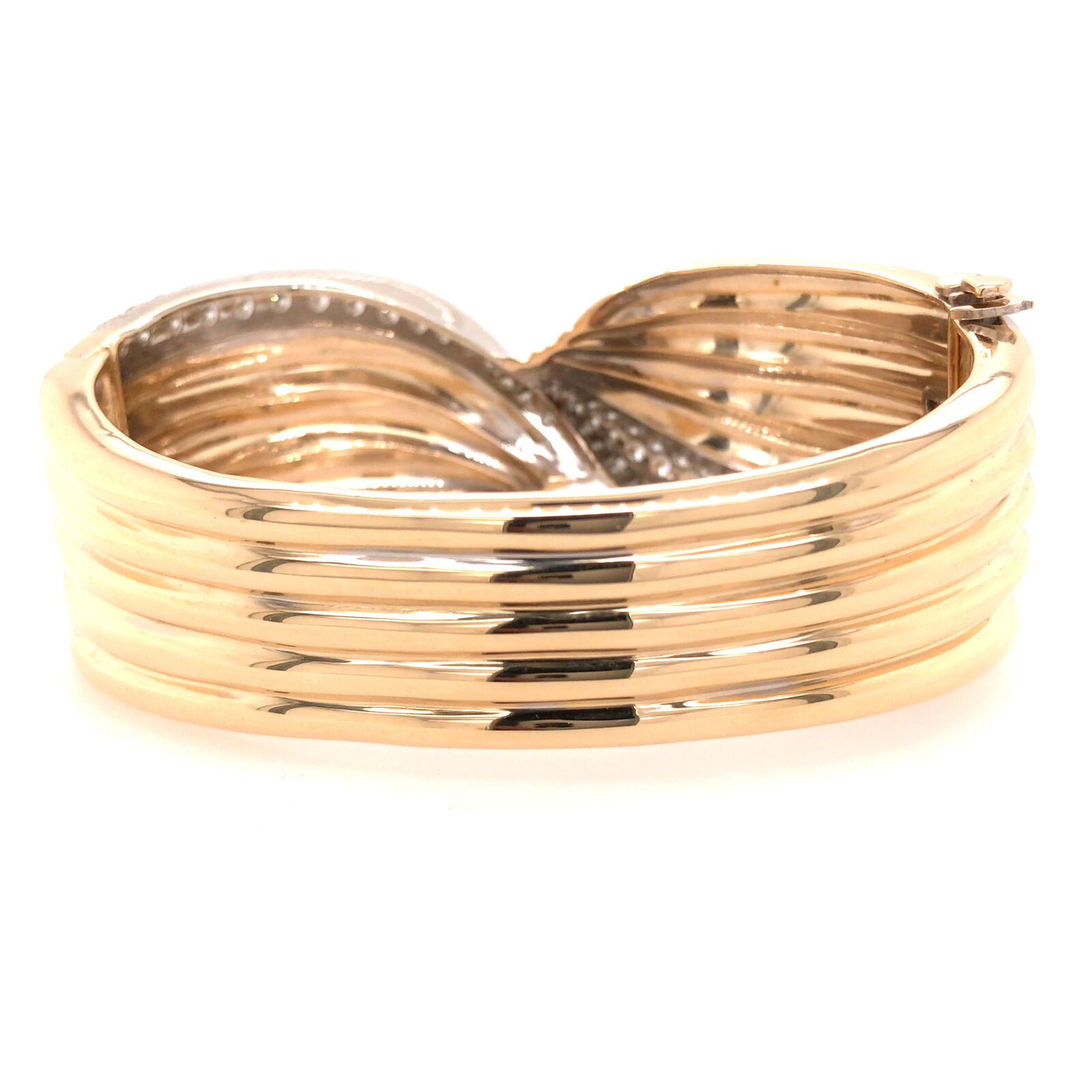 14K Wide Diamond Twist Cuff Two-Tone Gold - image 4