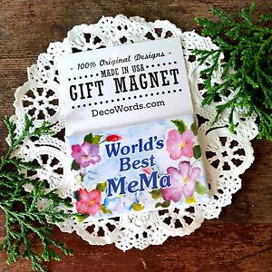 DecoWords-2-034-x3-034-Fridge-Magnet-WORLD-039-S-BEST-MEMA-MAGNET-Pretty-floral-Gift-NEW