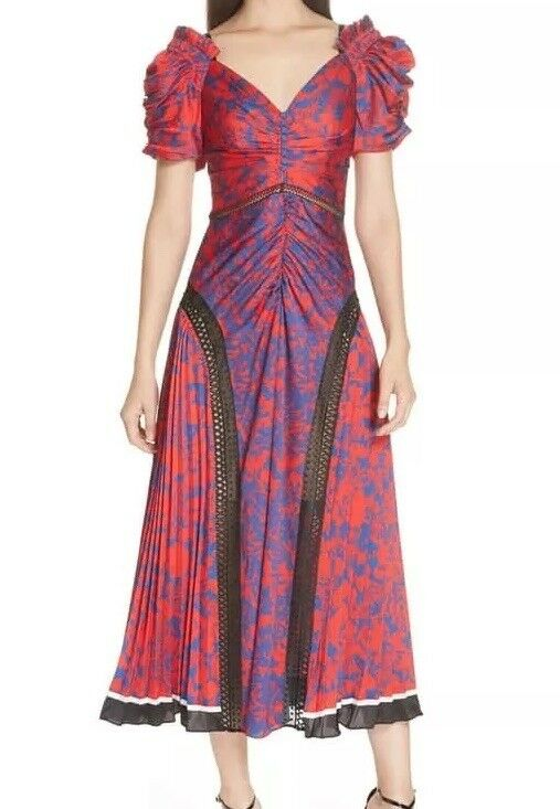 Self portrait Ruched & Pleated Floral Print Midi Dress Size 8 New