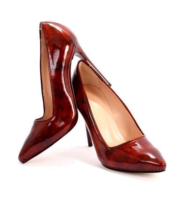 Isabelle 842 Burgundy Patent Pelle Stiletto Heels Pumps 35 / US 5