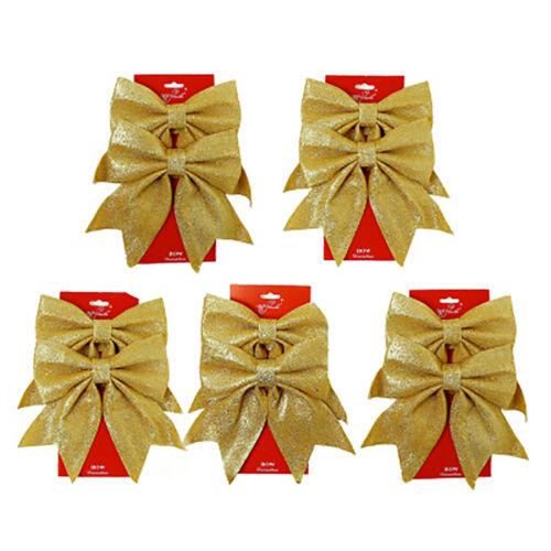 Christmas Tree Decor Glittered Bows 10x Gift Bows Xmas Glitter Ornament Unique