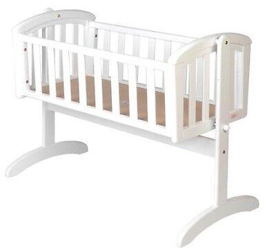 NEW Nursery Baby Cradle Bassinet Wooden WHITE + MATTRESS  baby cot