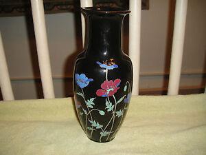 Japanese Porcelain Flower Vase Stamped Symbols Black Vase Floral Pattern