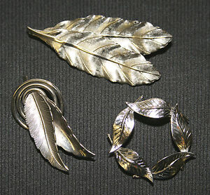 Leaf-Pins-Brooches-Lot-of-3-Pieces-Silvertone-Vintage-Ladies-Costume-Jewelry