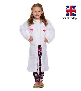 2d52b172b7a51 Kids WHITE DOCTOR COAT Fancy Dress Costume Outfit Child Girls Boys ...