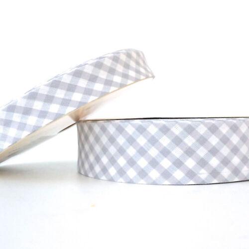 Baumwolle Stoff Gefaltet Rand 30mm Grau Gingham Schrägbandeinfassung