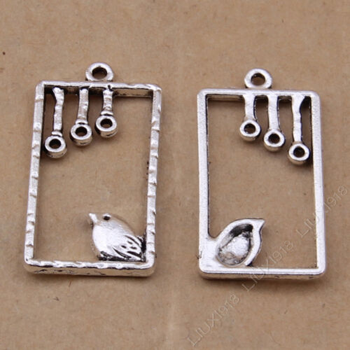 10pc Retro Tibetan Silver Bird Cage Pendant Necklace Charms Accessories PJ781