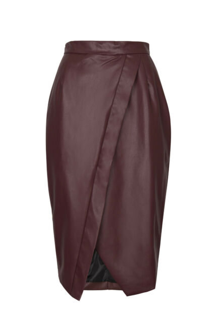 0e20da0b40 Women Faux Leather High Waist Wrap Cross Over Front Pencil Celeb ...