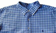 Men's RALPH LAUREN Tonal Blue White Plaid Oxford Shirt 3XLT 3LT 3XT TALL NWT NEW