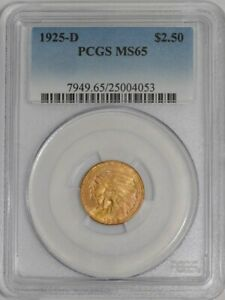 1925-D $2 1/2 Gold Indian $2.5  MS65 PCGS   934715-34