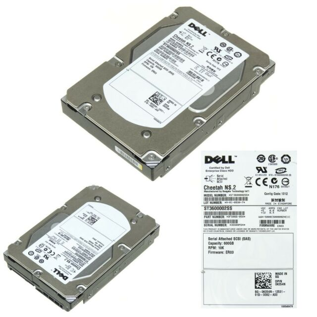 "K054N Dell//Seagate 0K054N 600GB 10k 3.5/"" SAS Hard Drive ST3600002SS"