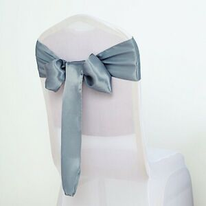 10 Dusty Blue Satin Chair Sashes Ties Bows Wedding Party Reception Decorations Ebay