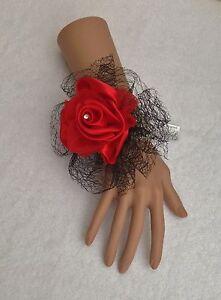 New-Bespoke-Black-Red-Wrist-Corsage-Bride-Bridesmaid-Wedding-Guest-Proms-Races