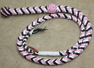 Cow Hide Leather 08 Feet Long 12 Plait Weaving Bull Whip Pink /& Black Durable Item Equestrian