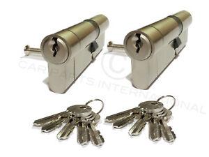 2 X Nickel 35/45 Euro Schlösser Zylinder Sicher Gleichschließend 5 Keys Je Lock