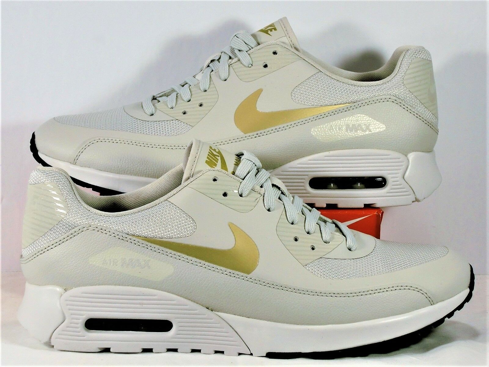 Nike Air Max 90 Ultra 2.0 Light Bone & Gold Runnng Shoes Sz 12 NEW 881106 006