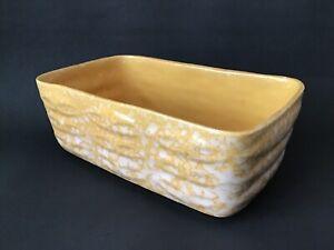 Vintage-Brush-McCoy-Pottery-Planter-USA-Honey-Mustard-Yellow-Cream-Speckled-MCM